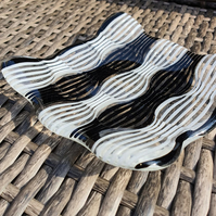 Glass Illusion Zebra Trinket Dish