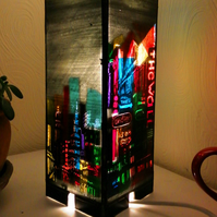 Stained Glass Neon City Scape  Lamp