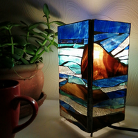 Stained Glass Seascape Lamp