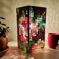 Stained Glass Depixellated Rose Lamp