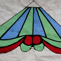 Stained Glass Carousel Top - green and blue stripe