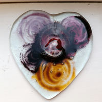 Fused Glass  Hearts and Flowers Coaster