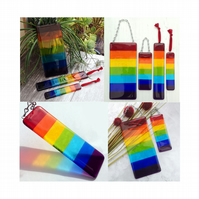 Handmade Fused Glass Rainbow Striped Suncatcher - Colourful Hanging Picture