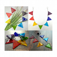 Handmade Fused Glass Bunting - Rainbow Bunting - Other colours possible