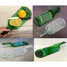 Handmade Fused Glass Recycled Wine Bottle Plate With Raised Neck Handle