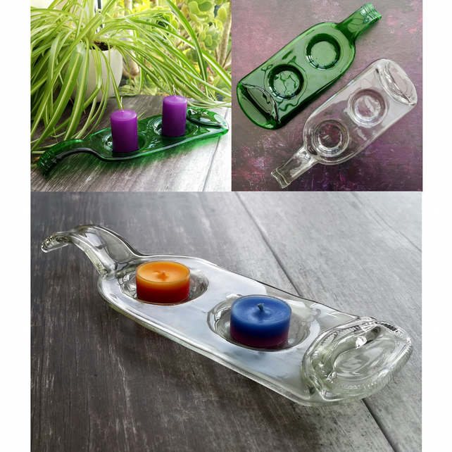 Handmade Fused Glass Recycled Wine Bottle Tealight or Small Candle Holder