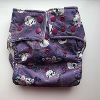 Reusable Single Gusset Pocket Nappy Purple Skulls
