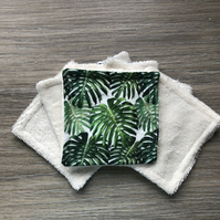 Set of Six Reusable Face Pads Palm Leaves