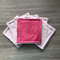 Set of Six Reusable Face Pads Pink Prisms