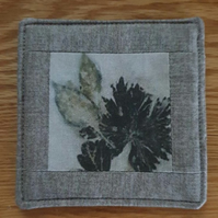 Coaster with Geranium and Chilli Plant Leaves