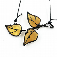 Leaves Stained Glass Pendant