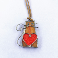 Cat Stained Glass Pendant