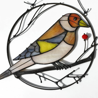 Goldfinch Stained Glass Suncatcher, Glass Suncatcher