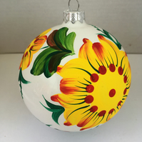 "D10 cm ""Flower"" Handmade Christmas Glass Decoration Ornament Bauble"