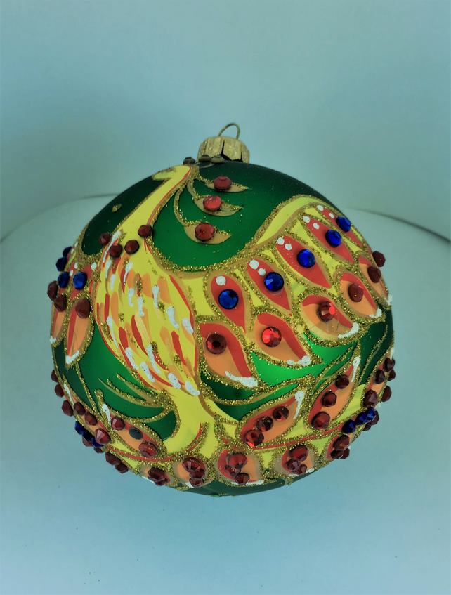 "D 10 cm ""Fenix on green"" Handmade Christmas Glass Decoration"