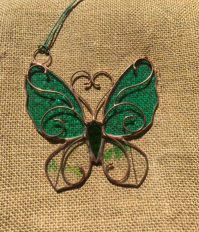 Stained Glass Butterfly, Tiffany, Turquoise