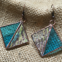 Blue and iridescent Stained Glass Earrings