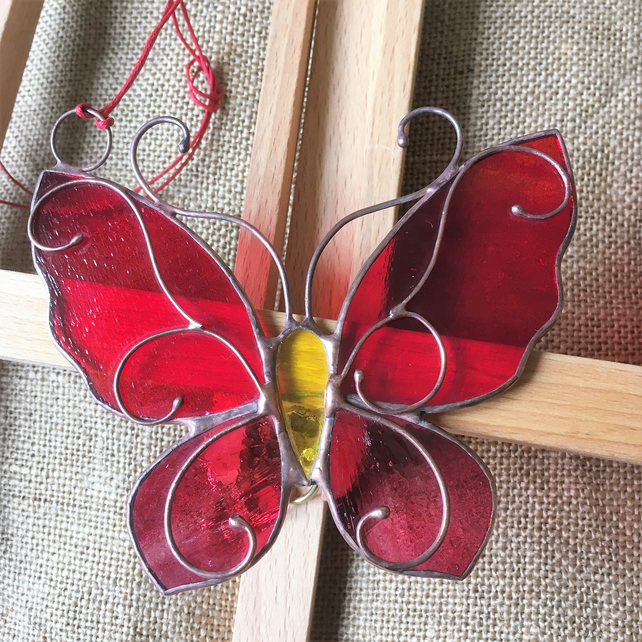 Stained Glass Butterfly, Tiffany, Red & Pink Glass