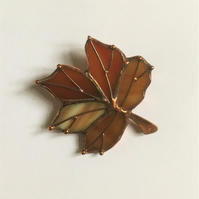 Brown and red Maple Leaf Stained Glass Brooch
