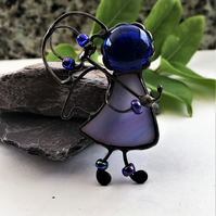 Guardian Angel Under Umbrella Stained Glass Brooch