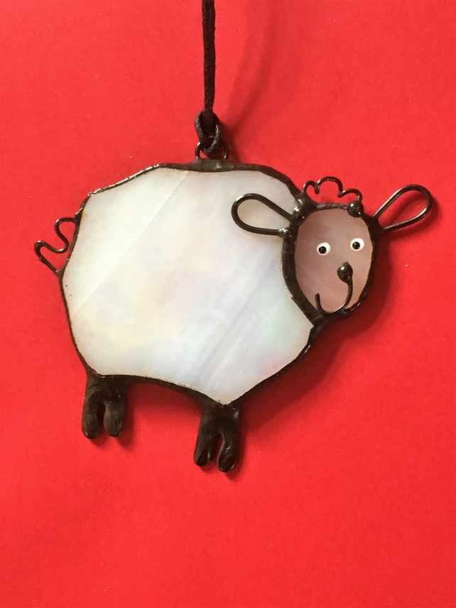"""Cute little sheep"" Stained Glass Pendant Suncatcher"