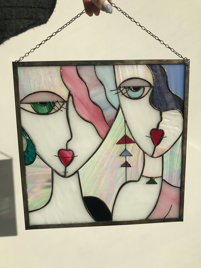 """Two girls"" Tiffany Stained Glass Window Panel"