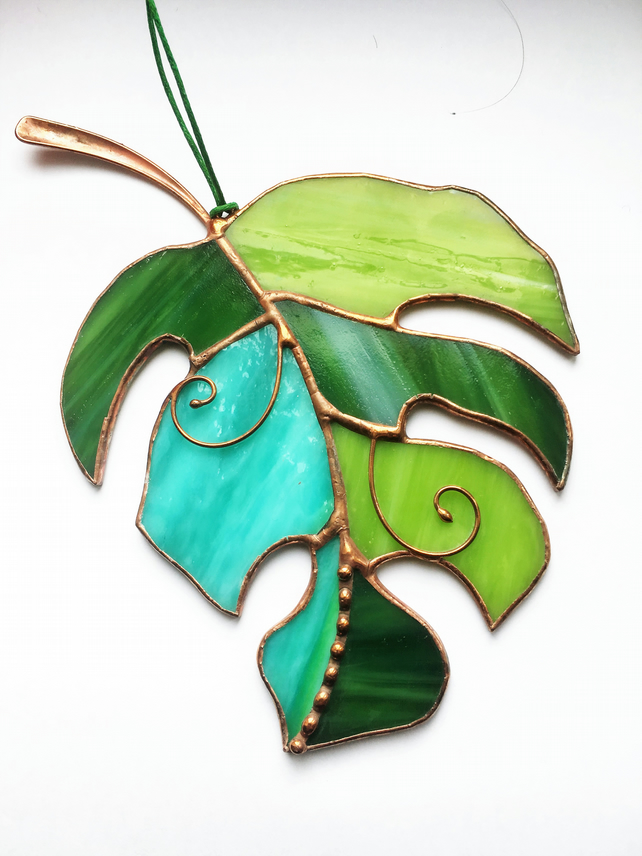 Green Monstera Leaf Stained Glass Suncatcher