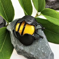 Stained Glass Bee Brooch