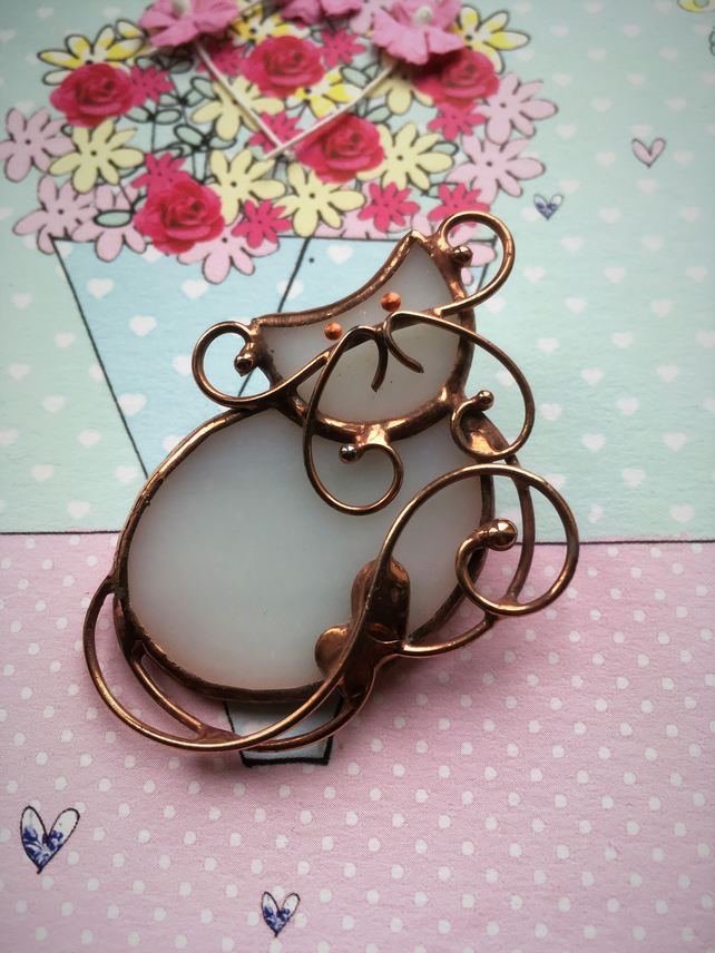 White Copper Cat Stained Glass Brooch