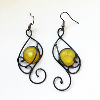 Stained glass earrings with yellow glass jemstone