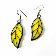Yellow Leaves Tiffany Stained glass earrings