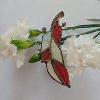 Red and White Feather Stained Glass Brooch