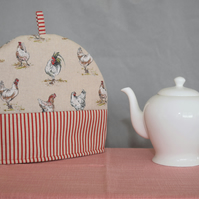 Tea Cosy Rooster Hen Motif with Stripe