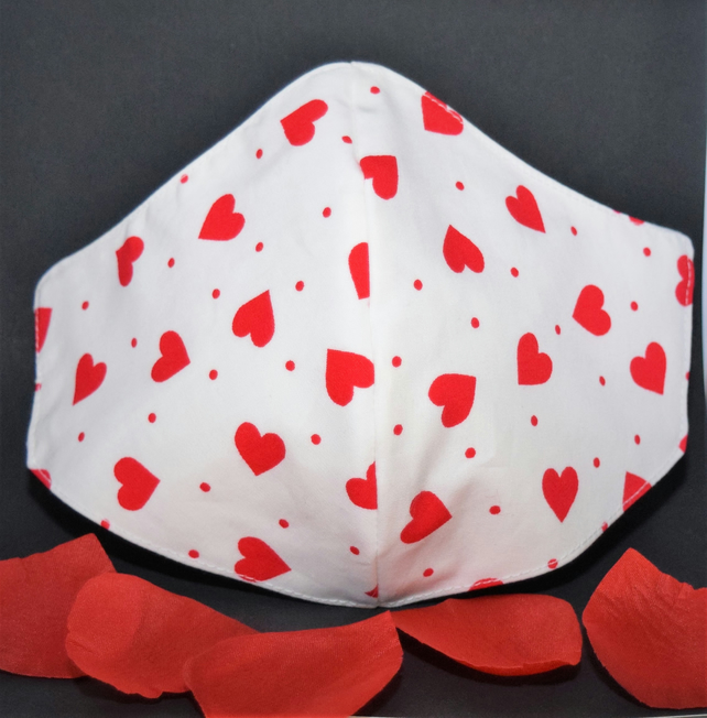 Protective Face Mask Red Hearts - with cord adjusters for comfort fit.