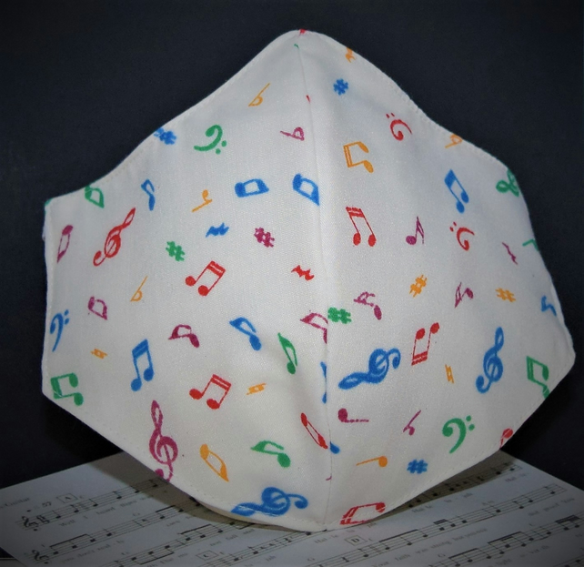 Musical Notes Protective Face Mask - with cord adjusters for comfort fit.