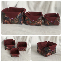 Beautiful Set of Fabric Boxes, Trinket Boxes, Pretty Fabric Boxes, Gift Ideas.
