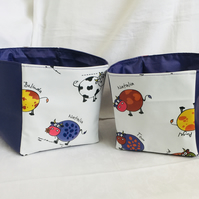 It's a Herd of Boxes, Set of Boxes, Oilcloth Boxes, Wipe-able Boxes, Gift Ideas
