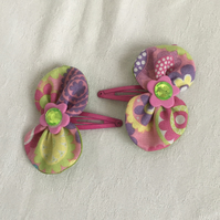 Colourful Bow Hair Clips, Snap Hair Clips, Hair Bows, On-trend Hair Accessories.