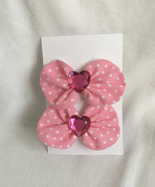 Pretty in Pink Bow Hair Clips, Polka Dot Bows, Pink Hair Bows, Gift Idea.