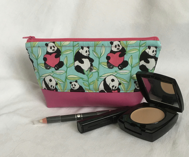 Panda Love Make Up Bag, Cute Cosmetic Bag, Fun Pencil Case, Gift Ideas.