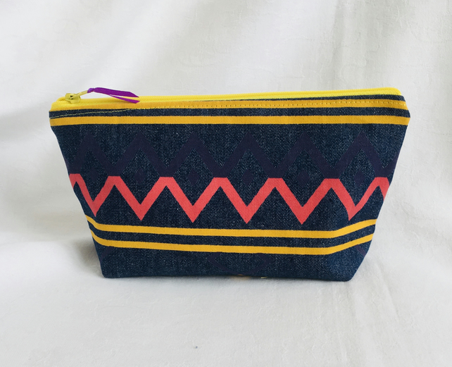 Aztec Make-up Bag, Denim Cosmetic Bag, Funky Pencil Case, Gift Ideas.