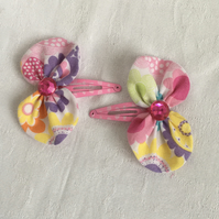 Colourful Bow Hair Clips, Snap Hair Clips, Pretty Hair Bows, Hair Accessories.