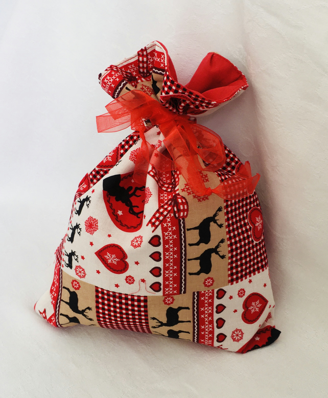 Reusable Christmas Gift Bag, Christmas Gift Sack, Scandi Gift Bag.