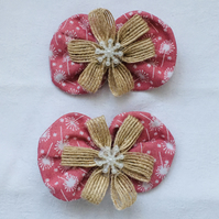 Bow Hair Clips, Dusky Pink Hair Bow Clips, Hair Accessories, Gift Ideas for Her.