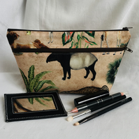 Safari Double Zip Make Up Bag, Small Toiletries Bag, Zip Bag, Gift Ideas.