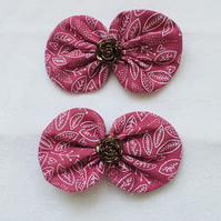 Set of Hair Bow Clips, Bow Hair Clips, Dusky Pink Bow Clips, Gift Ideas.