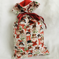 Reusable Christmas Gift Bag, Drawstring Gift Bag, Snowmen Gift Bag.