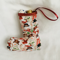 Small Tree Decoration Stocking, Snowmen Stocking, Gift Ideas,