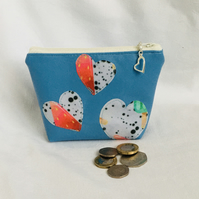 Cute Blue Coin Purse, Zip Purse, Faux Leather Coin Purse, Gift Ideas.