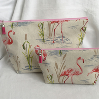 Flamingo 2 Piece Bag Set, Toiletries & Make Up Bag Set, Gift Ideas.
